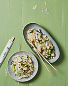 Crispy rice noodle salad with chicken breast and tofu