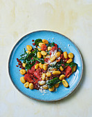 Colourful fried gnocchi with chorizo and grilled pepper