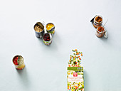 A symbolic image for quick dishes wit preserves and frozen vegetables
