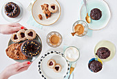 Sugar-free cakes and biscuits with coffee