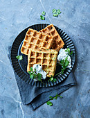 Gluten-free falafel waffles with mint cream