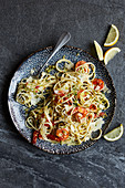 Linguine with prawns and spicy lemon oil