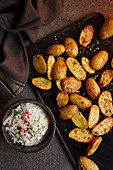 Marjoram potatoes with radish remoulade