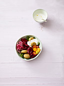 Jerusalem bowl with falafel and beetroot