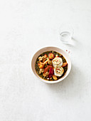Lentil daal bowl with goat's cheese