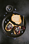 Melba toast with healthy blackberry and chia seed jam