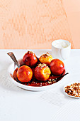 Poached peaches with ginger and hazelnut crumb