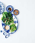 Gai Lan with pine nut sauce and sesame