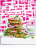 Zucchini and halloumi fritters
