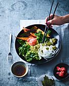 Wasabi fish and chips bowl