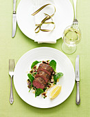 Char-Grilled Lamb with Pistachio and Fig Couscous