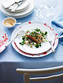 Barbecued Salmon with Yogurt Dressing
