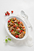 Veal ragout with tomatoes and peppers