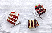 Red velvet cake, Devil's food cake and Chocolate pistacchio cake