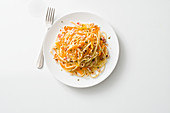 Linguine with oven-roasted carrots, herbs and hazelnuts