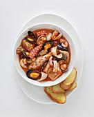 Fish soup from Sardinia (Italy)