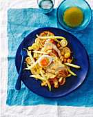 Golden saffron chicken and potato salad