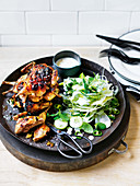 Barbecued quail with green chilli, lemon and fennel