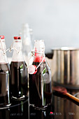 Elderberry juice in bottles