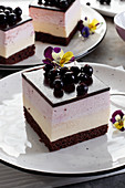 Currant slices topped with violets