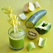 Freshly squeezed green juice from fruit and vegetables