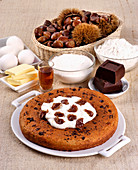 Chestnut cake with ingredients