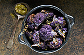 Roasted purple cauliflower with thyme and za'atar spices