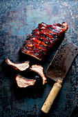 Spare Ribs cutted with butcher knife