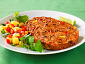 Sweet potato pancakes with black beans and salsa