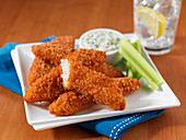 Buffalo chicken fillets with panko bread crumbs