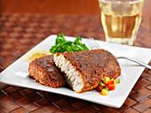 Blackened mahi (gold mackerel) with salsa