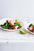 Tamari and maple glazed chicken breasts with ginger quinoa