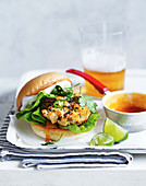 Madras chicken burger served with mango chutney