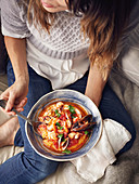 Tuscan fish stew with soft polenta