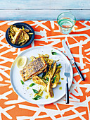 Roast Barramundi with curried green banana