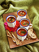 Tomato soup with chicken dumplings