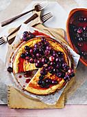 Ricotta and roasted grape cheesecake