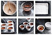 Preparing chocolate crème brûlée