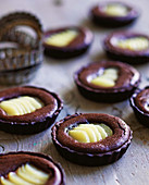 Frangipane, chocolate and pear tartlets