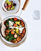 Harissa chickpeas with silverbeet