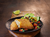 Cod with a potato crust and corn salsa