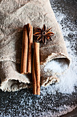 Cinnamon sticks, star anise and sugar