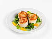 Fried scallops with salad and oranges