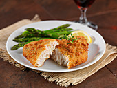 Breaded Alaska pollock with green asparagus