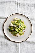 Green tomato salad with ricotta