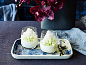 Jasmine tea panna cotta with ginger granita and green apple