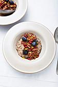 Buckwheat porridge with pecans and blueberries