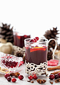Non-alcoholic mulled wine in a festive glass