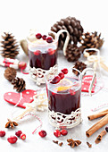 Christmas alcohol-free mulled wine in festive glasses