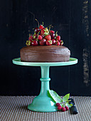 A chocolate cake decorated with fresh red fruit on a cake stand